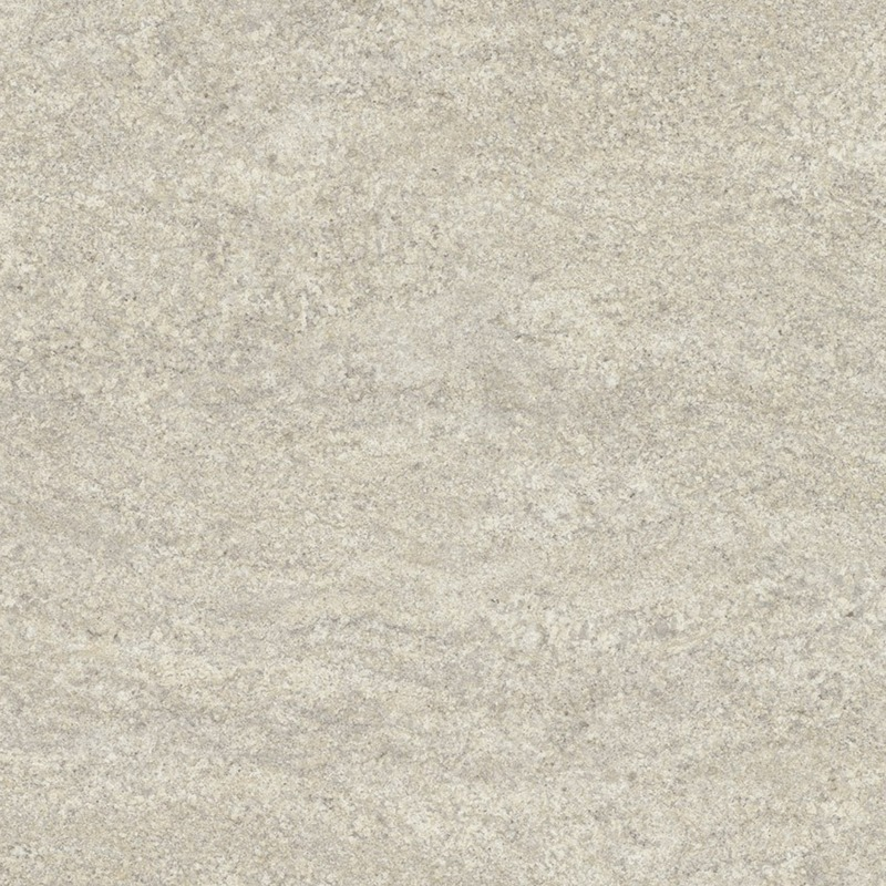 This white granite blends white, beige, and grey in a soft linear movement with medium contrast.