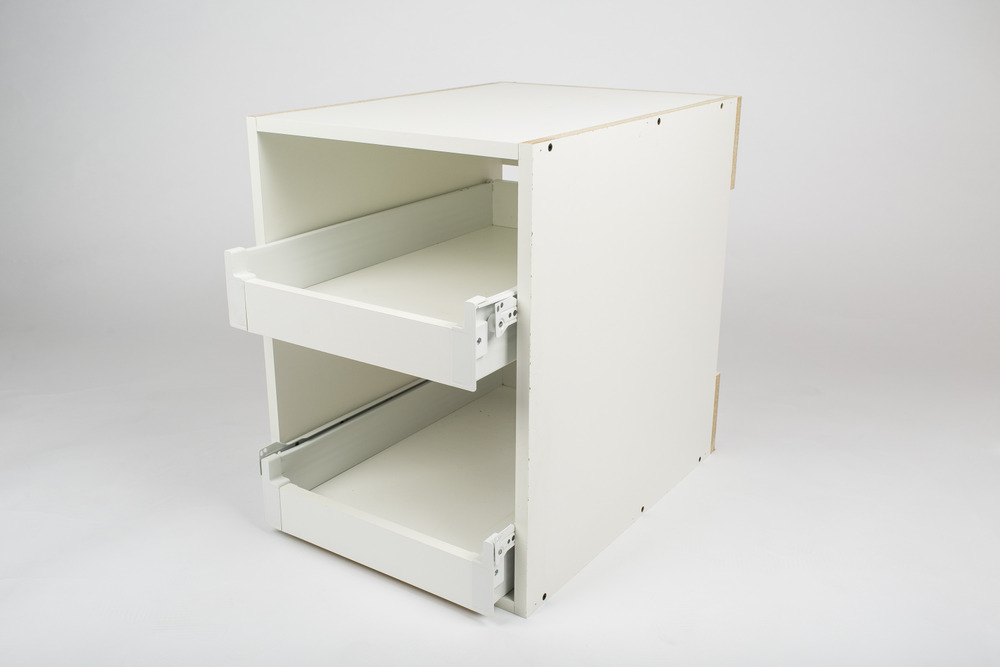 Any base cabinet over 15'' wide can be retrofitted with rollout trays. Maximum two trays per cabinet.