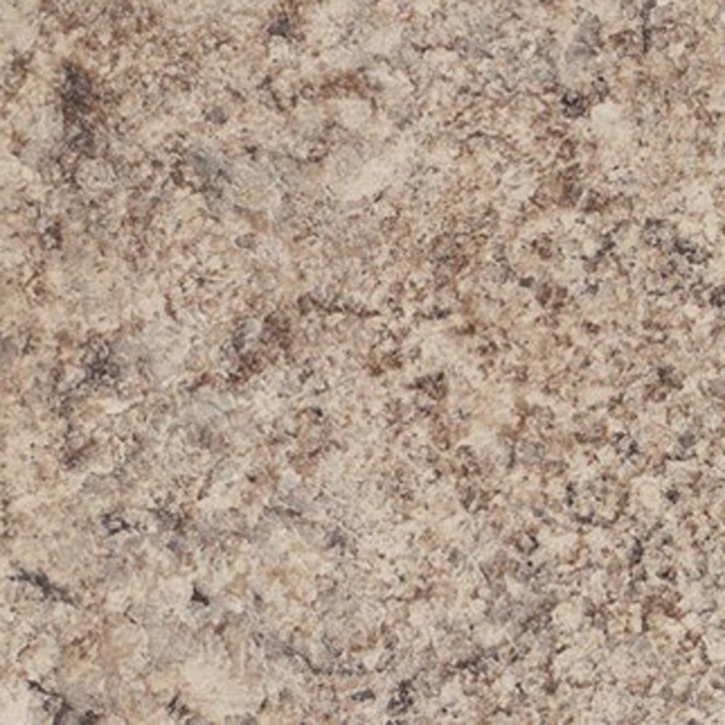 A medium scale granite with movement and contrast. Comprised of aubergine and beige with accents of brown and dark grey.