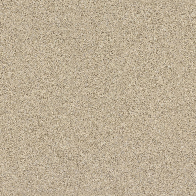 A light neutral small scale quartz design accented with off-white, brown, and grey chips.