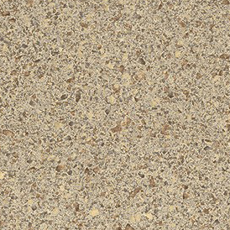 A light sand small-scale quartz design accented with gold, dark brown, and sienna chips.