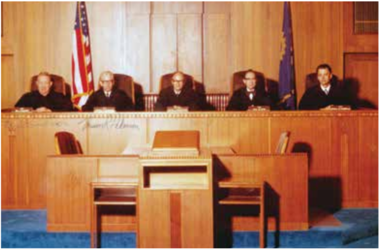 The  1981  North  Dakota  Supreme  Court  Justices,  from  left  to  right,  Justice William Paulson, Justice Vernon R. Pederson, Chief Justice Ralph J. Erickstad, Justice Paul M. Sand, and Justice Gerald W. VandeWalle.