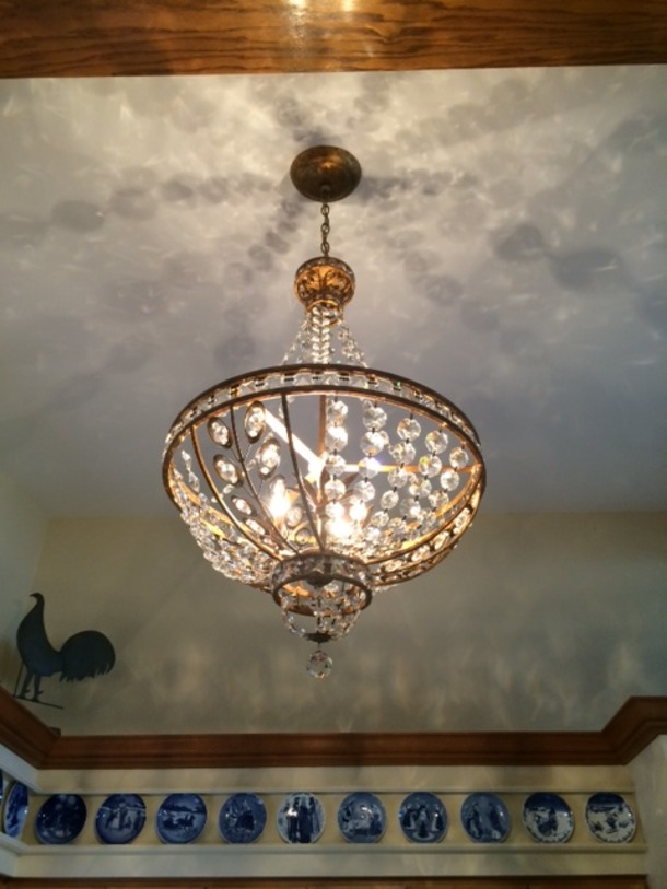 Medium chandelier and  china decor